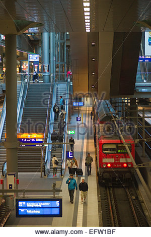 Berlin Railway Train Station Germany é─∞ Federal Republic of Germany Europe Deutschland DE DEU Bavaria Bayern People - Stock Photo