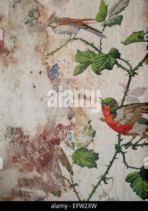Birds on brambles hand painted vintage wallpaper wall paper painting revealed during building works at interior - Stock Photo