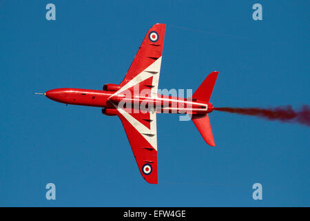 British Aerospace Hawk of the Royal Air Force aerobatic team the Red Arrows during a display - Stock Photo