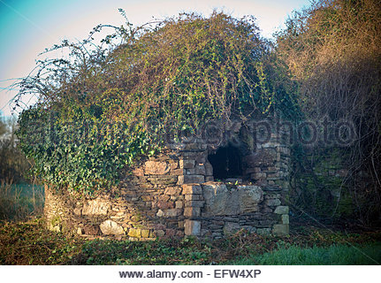 Brittany Unusual Stone Bread Oven Natural Wall Rustic Rural France Europe French - Stock Photo