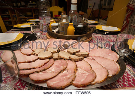 Sliced Meat Fresh Meats Food And Drink Dinner Table Place Settings Party Coldcuts Cold Cuts Slices Brittany Dinner - Stock Photo