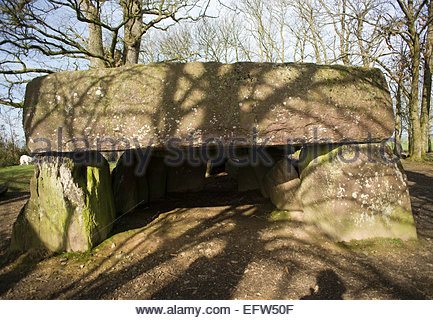 Ancient Stones Stone Monument Brittany Roche aux Fees Nobody Door Entrance Doorway France Europe French - Stock Photo