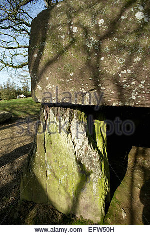 Ancient Stones Stone Monument Brittany Roche aux Fees Door Nobody Entrance Doorway France Europe French - Stock Photo