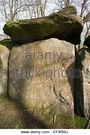 Ancient Stones Stone Monument Brittany Roche aux Fees Nobody Historic Rock Monument France Europe French - Stock Photo