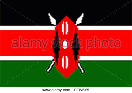 Kenya - Republic of Kenya Africa 2000 Nobody Flag African Adventure Travel - Stock Photo