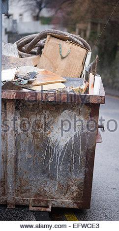 Nobody Skip Filled With Rubbish Waste Container Dumpster Rubbish Trash Waste Bin Bratislava Slovakia Sk Svk Europe - Stock Photo