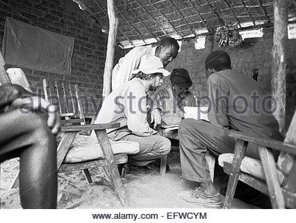 People Person Man Men Explorer Kypros Explorer Kypros talking With Central African Republic Ambassador Inside Jungle - Stock Photo