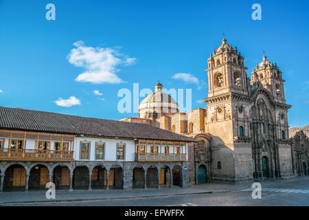 Colonial architecture and stunning church on the Plaza de Armas in Cuzco, Peru - Stock Photo
