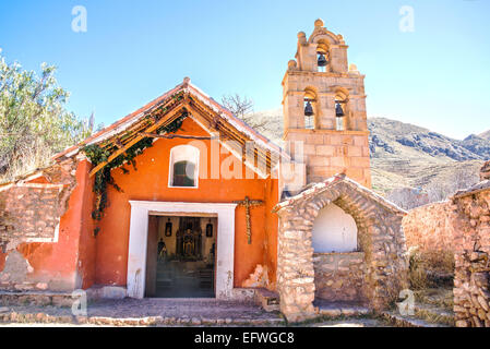 Small colonial chapel outside of Potosi in rural Bolivia - Stock Photo
