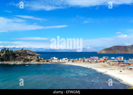 Town of Challapampa on Isla del Sol on the Bolivian side of Lake Titicaca - Stock Photo