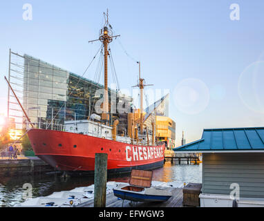 The United States Lightship Chesapeake LV116 in the inner harbor, Baltimore Maryland USA. Composite of three photographs. - Stock Photo