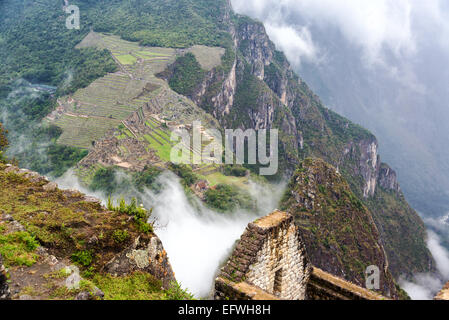 Aerial view of Machu Picchu as seen from the mountain peak of Wayna Picchu - Stock Photo
