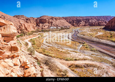 Wide canyon near San Pedro in the Atacama desert in Chile - Stock Photo