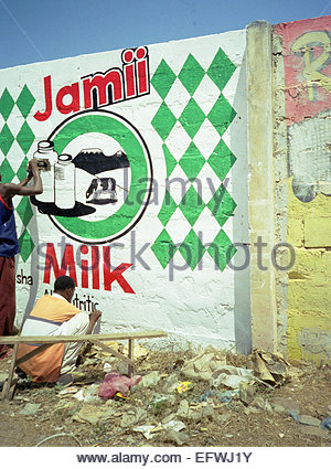 Milk Advertising Advert Billboard Dairy Products Painted On Wall Painters Paint Painting Art Artwork Artist - United - Stock Photo