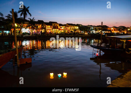 Floating candles, Hoi An, Vietnam. - Stock Photo