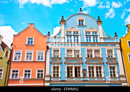 Typical houses in Landshut in Renaissance architecture style,  bold colors and stucco. - Stock Photo