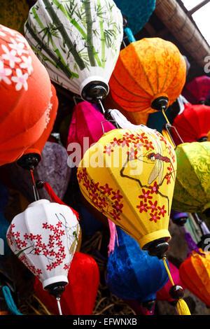 Traditional silk lanterns, Hoi An, Vietnam. - Stock Photo