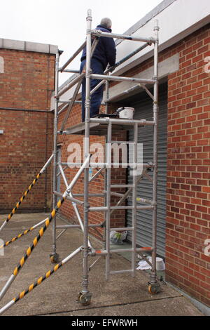 Working Painter On Scaffold And A Old House In Place Delft Zuid ...