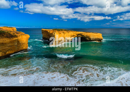 The famous London Bridge rock formation, Great Ocean Road, Australia - Stock Photo
