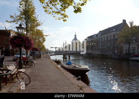 Oude Vest in Leiden, Netherlands with a view of the Marekerk - Stock Photo