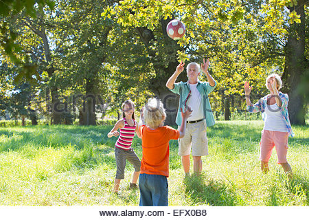 Multi generation family, playing catch, in treelined field - Stock Photo