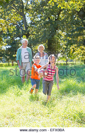 Multi generation family, playing with ball, in treelined field - Stock Photo