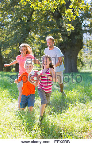 Family, playing with ball, in treelined field - Stock Photo