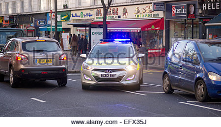 Police Car Driving Emergency, Edgware Road United Kingdom Great Britain British UK Central London Nobody Outdoor - Stock Photo