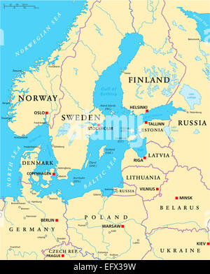 Baltic Sea Area Political Map with capitals, national borders, important cities, rivers and lakes. English labeling - Stock Photo