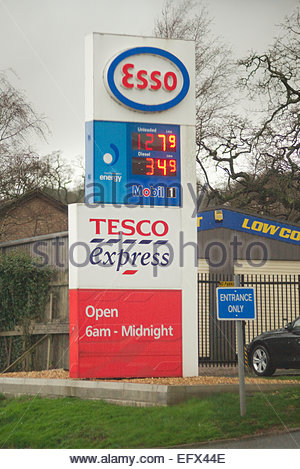 Tesco petrol station signs with prices for fuel stock photo 48764468 alamy - Esso garage opening times ...