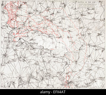 Map of the Battle of the Somme, or the Somme Offensive in the First World War. Successive lines of the British and - Stock Photo