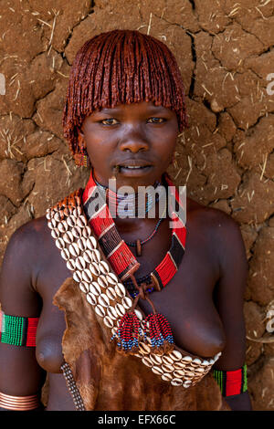 A Portrait Of A Young Woman From The Hamer Tribe, The Monday Market, Turmi, The Omo Valley, Ethiopia - Stock Photo