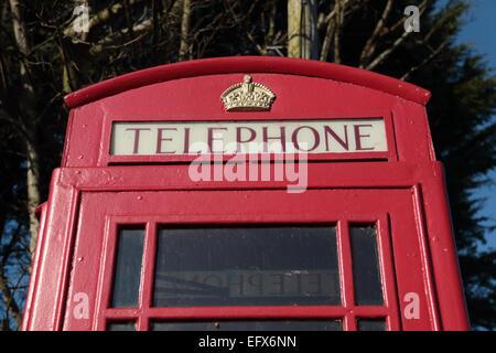 British iconic red telephone box - Stock Photo