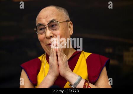 Copenhagen, Denmark. 11th February, 2015. Dalai Lama - the spiritual leader for the Tibetan people and for Tibetan - Stock Photo