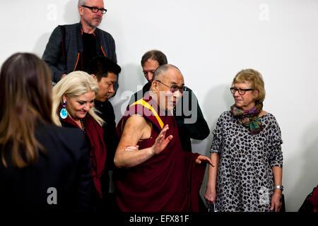 Copenhagen, Denmark. 11th February, 2015. Dalai Lama arrives to the press conference in Copenhagen at the Bella - Stock Photo