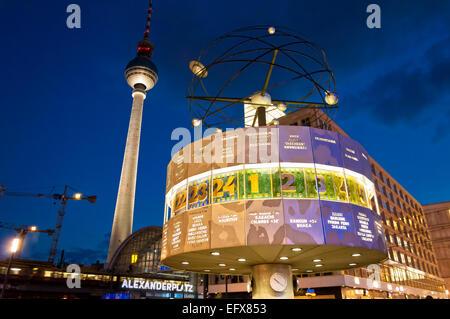 Berlin, Germany - June 7, 2013: Alexanderplatz, Tv tower and world clock night view on June 07, 2013 in Berlin. - Stock Photo