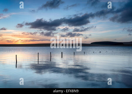 Sunrise over the Crowdy Reservoir a large lake on Bodmin Moor near davidstoe in Cornwall