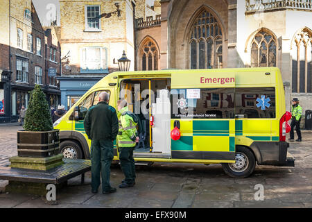 An ambulance parked in the centre of York offering a free blood pressure check service to the public a public health - Stock Photo