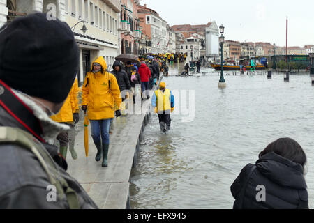 Venice, 6 February 2015. After heavy rain and strong wind, the water level rose by over 1 meter. Piazza San Marco - Stock Photo
