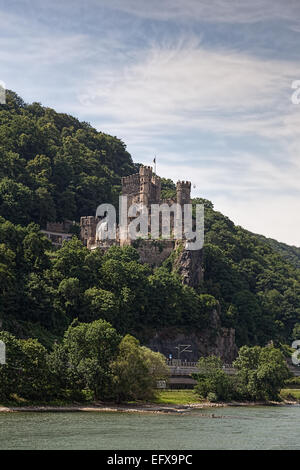 The medieval Reichenstein castle on the Rhine River in the Loreley valley Germany. - Stock Photo
