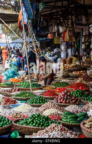 Market in the old quarter, Hanoi, Vietnam. - Stock Photo