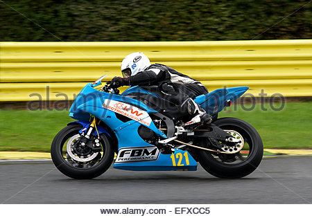 One of the rider's in the Hottrax Superbike Races held at Croft Circuit, U.K. - Stock Photo