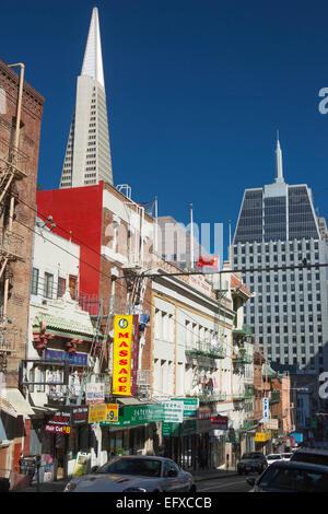 SACRAMENTO STREET CHINATOWN SAN FRANCISCO CALIFORNIA USA - Stock Photo