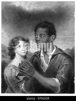 An engraving entitled 'The African Prince' scanned at high resolution from a book printed in 1845. - Stock Photo