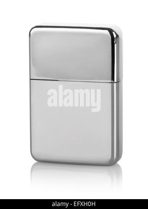 Silver lighter isolated on a white background - Stock Photo