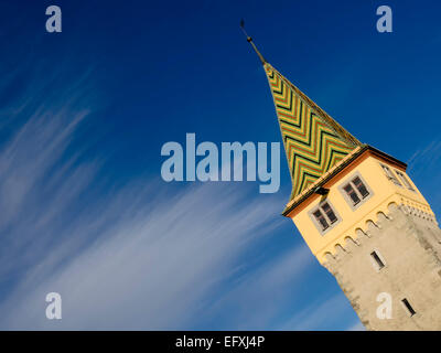 Image of the Mangturm in Lindau Bavaria Germany with free space in blue sky - Stock Photo