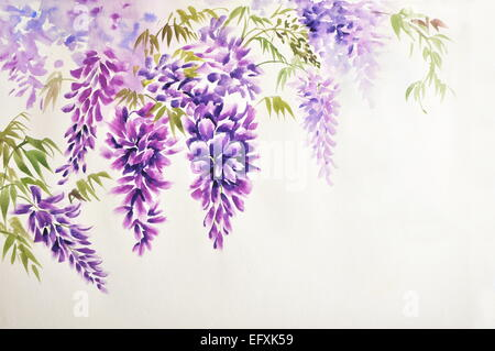 Original watercolor painting of beautiful wisteria branches in blossom - Stock Photo