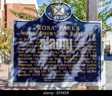 Plaque on site of bus stop where Rosa Parks boarded and refused to give up her seat, Montgomery Street, Montgomery, - Stock Photo