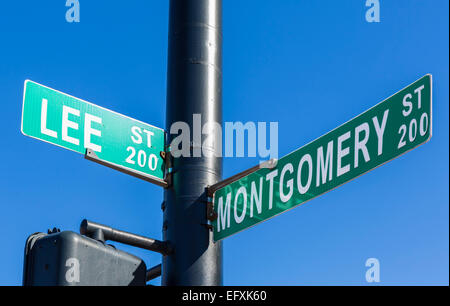 Montgomery Street street sign near spot where Rosa Parks boarded a bus and refused to give up her seat, Montgomery, - Stock Photo