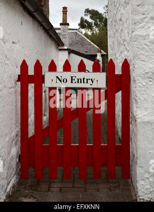No Entry - Red wooden gate - Stock Photo